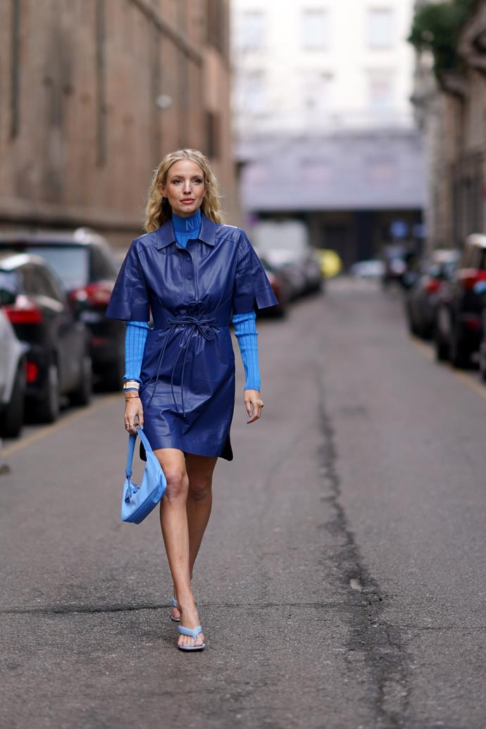 Leonie Hanne at Milan Fashion Week Fall/Winter 2020-2021.
