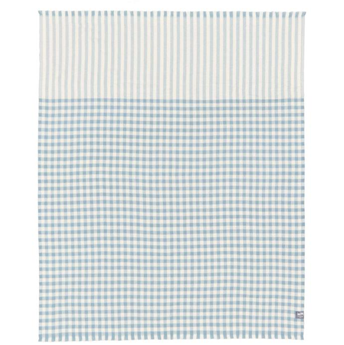 "'Contemporary Classic Merino Throw Blue Serif' Throw, $299 at [Waverly Mills](https://waverleymills.com/collections/by-product/products/contemporary-classic-merino-throw-blue-surf target=""_blank"" rel=""nofollow"")."