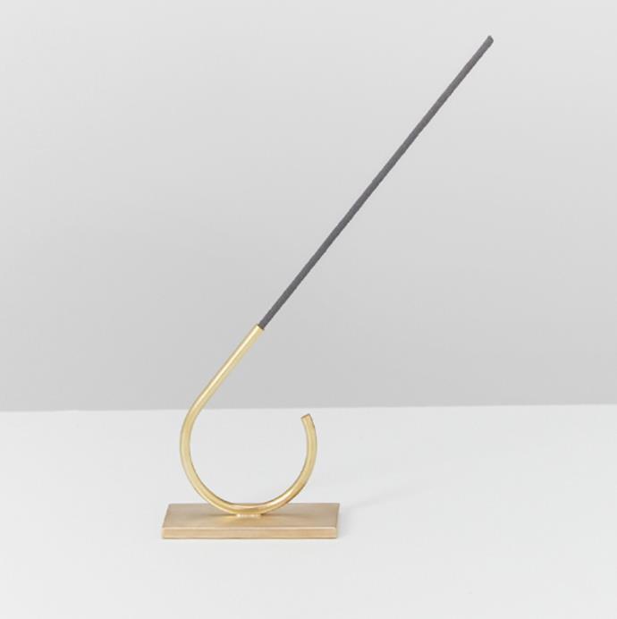 "'Brass Incense Holder' by AYU, $80 at [My Chameleon](https://www.mychameleon.com.au/living/home/brass-incense-holder-ayu target=""_blank"" rel=""nofollow"")."