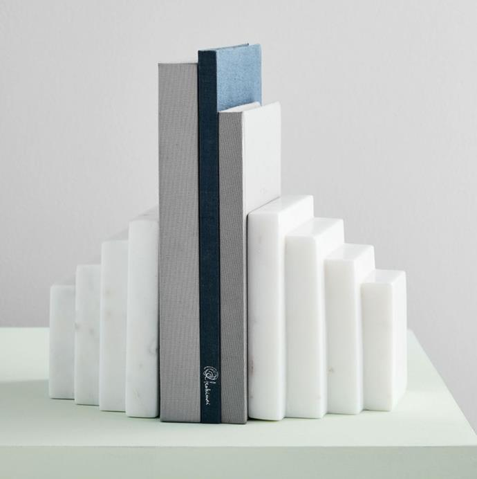 "'Marble Vanity Bookends', $73.50 at [West Elm](https://www.westelm.com.au/marble-vanity-bookends-d6524|target=""_blank""
