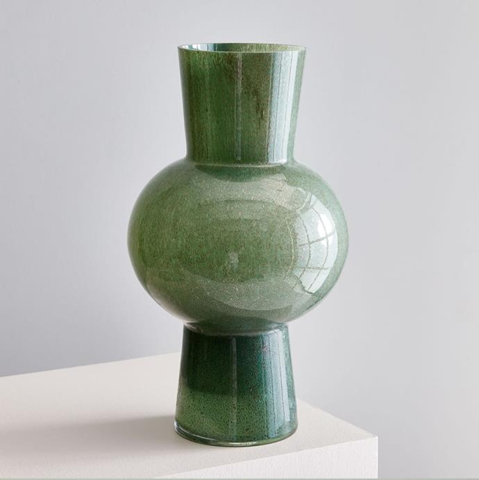 """'Large Jade Coloured Glass Vase', $59.20 at [West Elm](https://www.westelm.com.au/jade-colored-glass-vases-d6537?quantity=1&attribute_1=Large%20Vase target=""""_blank"""" rel=""""nofollow"""")."""