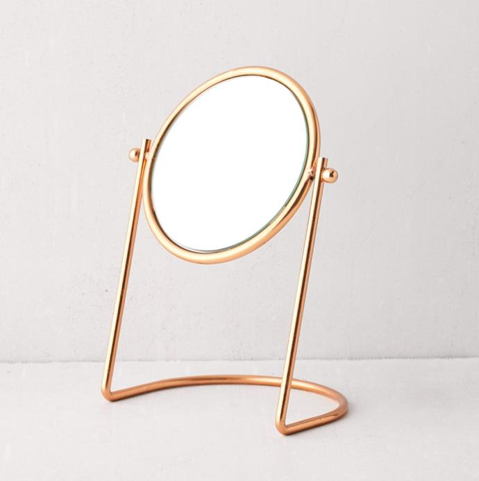 "'Layla Tabletop Mirror', $46 at [Urban Outfitters](https://au.urbanoutfitters.com/en-au/product/layla-tabletop-mirror/UO-57828220-000?color=copper&size=one-size|target=""_blank""