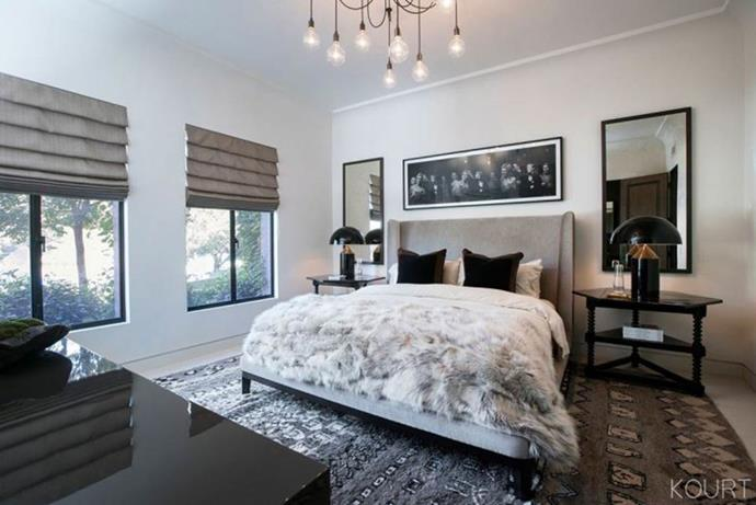 **Kourtney Kardashian's house** <br><br> As for Kardashian's bedroom décor, the mother-of-three opted for plush, tonal accessories in a grey theme, with a large Moroccan carpet. <br><br> *Image: Kourtney Kardashian App*