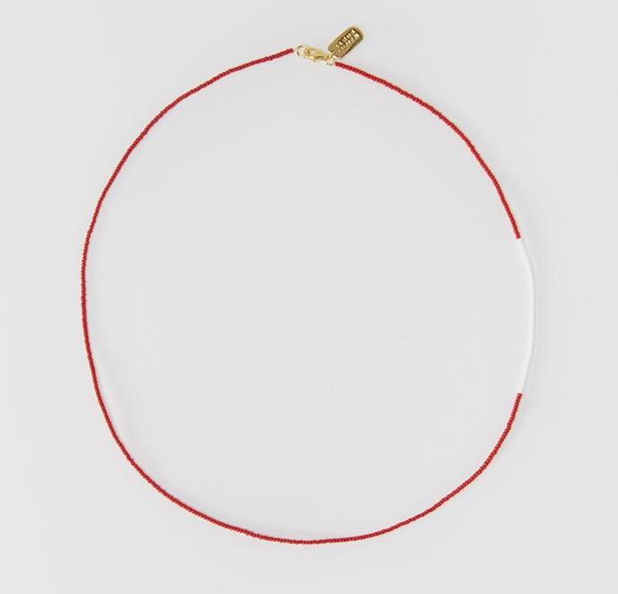 "Multi Beaded Necklace by Albus Lumen, $110 at [My Chameleon](https://www.mychameleon.com.au/designer/albus-lumen/multi-beaded-necklace-red-white-albus-lumen|target=""_blank""