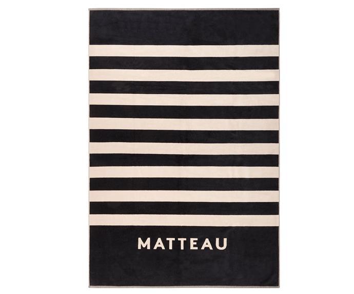"Jacquard Towel by Matteau Swim, $150 at [The Undone](https://www.theundone.com/products/matteau-jacquard-towel?variant=51089087060&currency=AUD&utm_medium=product_sync&utm_source=google&utm_content=sag_organic&utm_campaign=sag_organic&gclid=CjwKCAiAzNj9BRBDEiwAPsL0d-AqugP0Zfizf-PVocp7F7ORFMMYycYLGBKOFStOnXGp7uRNkdQp2BoCYGMQAvD_BwE|target=""_blank""|rel=""nofollow"")."