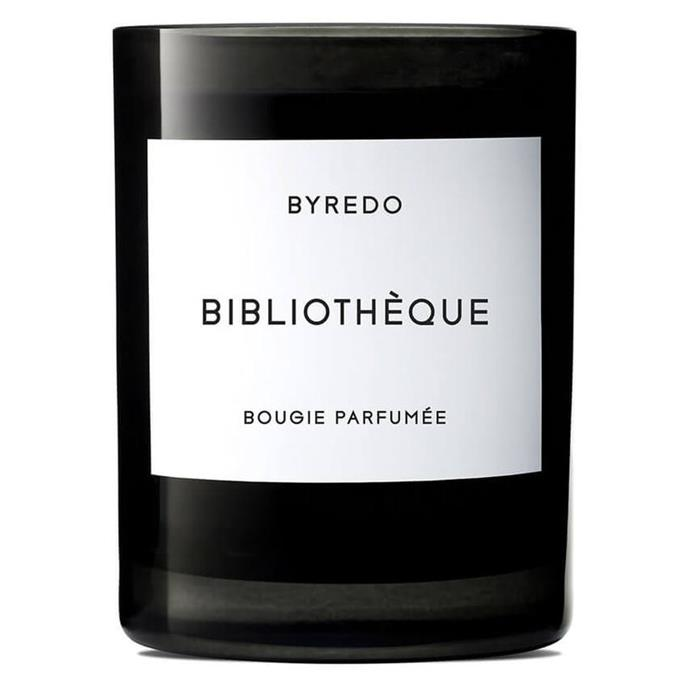 """Bibliothèque Candle by BYREDO, $110 at [MECCA](https://www.mecca.com.au/byredo/bibliotheque-candle/V-018296.html