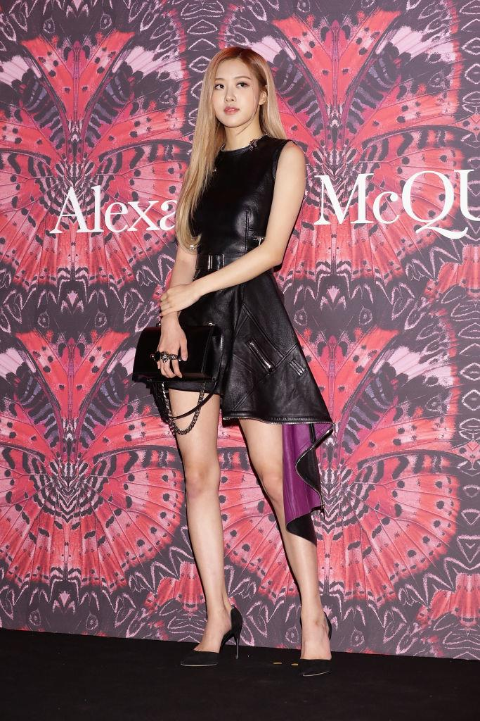 **Rosé**<br><br>  In head-to-toe leather at the Alexander McQueen 2018 autumn/winter collection event in October 2018 in Seoul, South Korea.