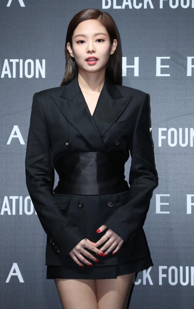**Jennie**<br><br>  In a slick black tuxedo mini dress at the HERA event in March 2019 in Seoul, South Korea.