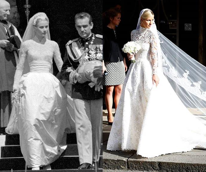 """**Princess Grace of Monaco and Nicky Hilton** <br><br> While many brides have tried to channel [Grace Kelly](https://www.elle.com.au/wedding/celebrity-wedding-dresses-inspired-by-grace-kelly-13801
