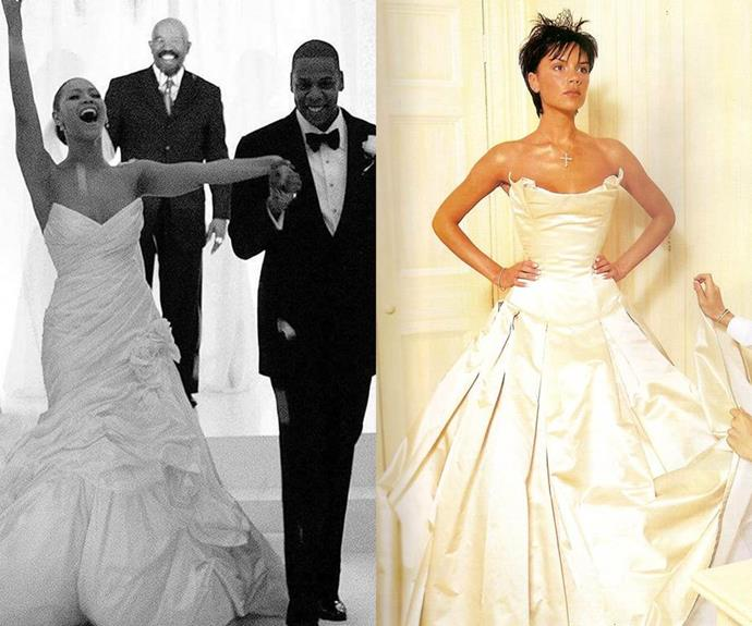 **Beyoncé and Victoria Beckham** <br><br> Beckham's cinched Vera Wang showstopper might be a little more 'camp' than Beyoncé's slightly more demure gown (designed by her mother, Tina Lawson), but we can't help but notice similarities between both dresses' dramatic necklines and voluminous skirts.