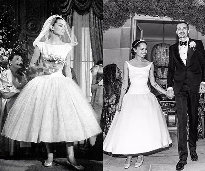 """**Audrey Hepburn (in *Funny Face*) and Zoë Kravitz** <br><br> Yes, we're well aware that one of these gowns is fictional and the other isn't. But for her Paris wedding in July 2019, Zoë Kravitz's adorable dress was a visible homage to the Givenchy gown famously worn by Audrey Hepburn in the 1957 film *Funny Face*. Kravitz's gown was designed by her close friend, Alexander Wang, who said in a 2020 [interview](https://www.vogue.com/article/alexander-wang-zoe-kravitz-wedding-dress-design-bridal