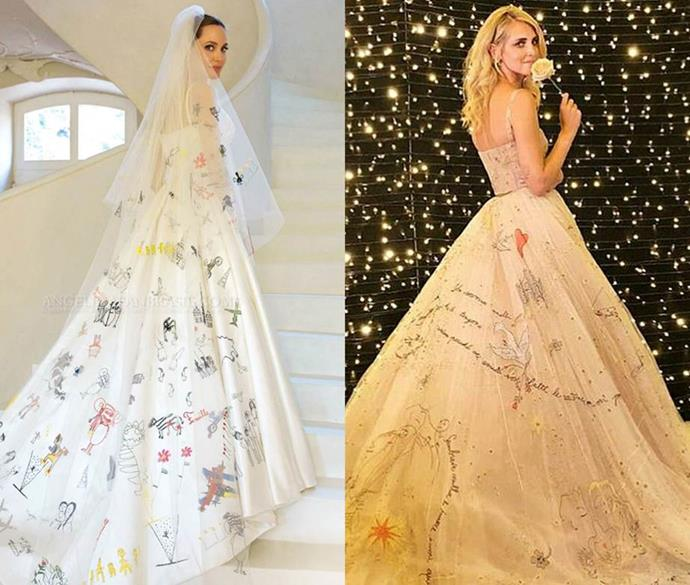 ***Angelina Jolie and Chiara Ferragni***<br><br> Angelina Jolie and fashion blogger Chiara Ferragni both embraced hand-'drawn' images and words stitched onto their gowns (or in Jolie's case, her long veil).