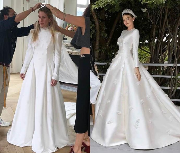 ***Ellie Goulding and Miranda Kerr***<br><br> From the high neck, to the full-length sleeves, lack of lace and minimalist adornment, there were quite a few similarities between Ellie Goulding's Chloé and Miranda Kerr's Dior.