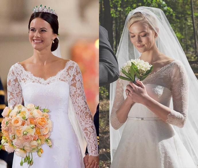 ***Princess Sofia of Sweden and Karlie Kloss***<br><br> With a sloped v-neck lace overlay, a strapless bodice underneath and long lace sleeves, Karlie and Sofia's dresses are quite similar.