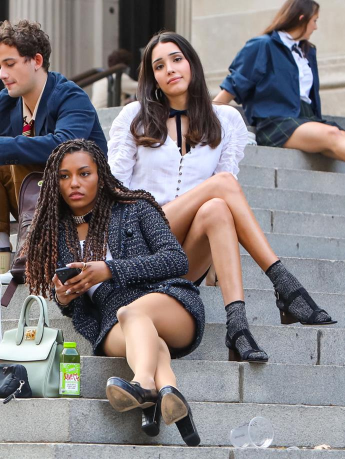 **The Constance and St Jude's School Uniforms**<br><br>  Savannah Smith (pictured here with Zion Moreno) mixing edge (the choker) with elegance (the tweed skirt suit) is a whole mood.