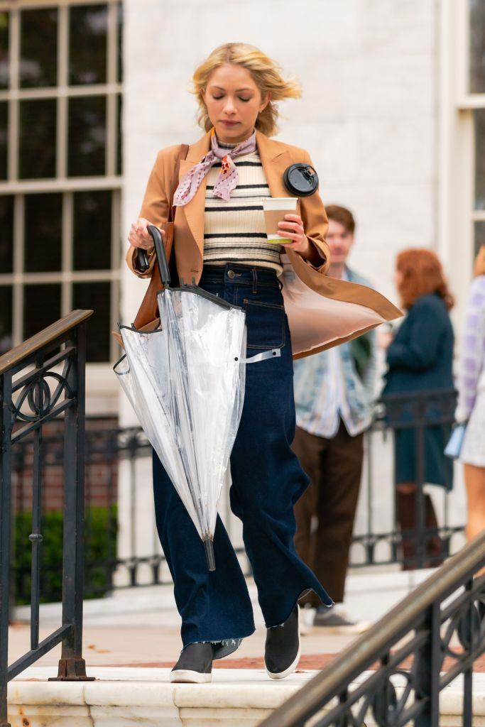 **Streetwear**<br><br>  Details about Tavi Gevinson's character (pictured here), like most of the others, has yet to be released, but her understated preppy looks are giving us a feeling that she might not be in the 'mean girls' clique.