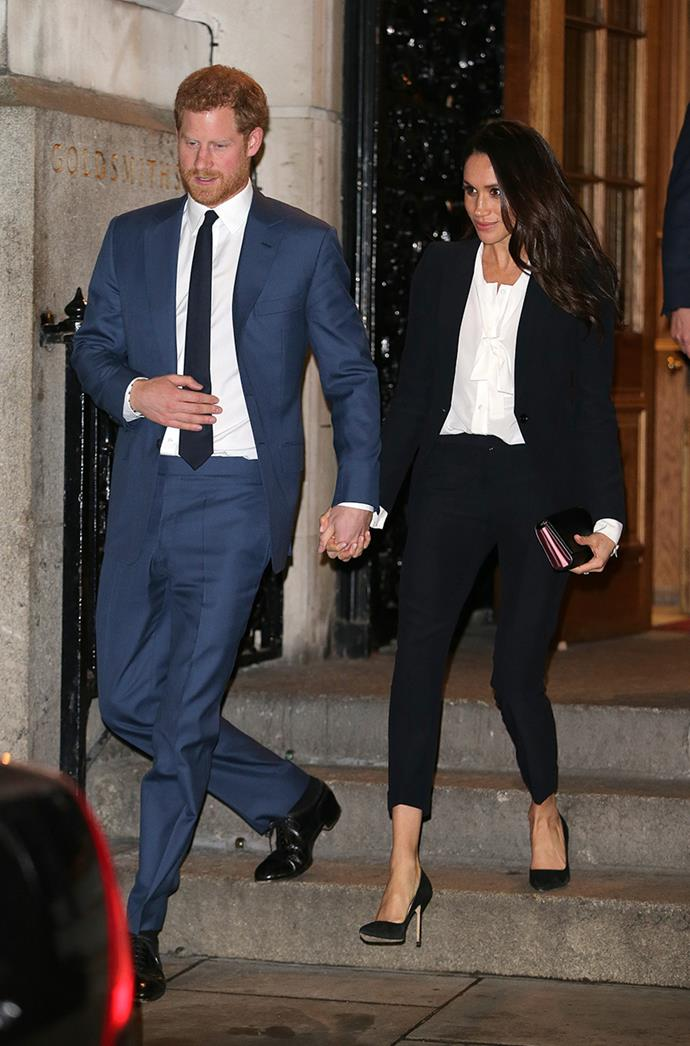 **MEGHAN, DUCHESS OF SUSSEX** <br><br> Before she was officially the Duchess of Sussex, Meghan Markle wore an Alexander McQueen suit and trousers for a gala event in February.