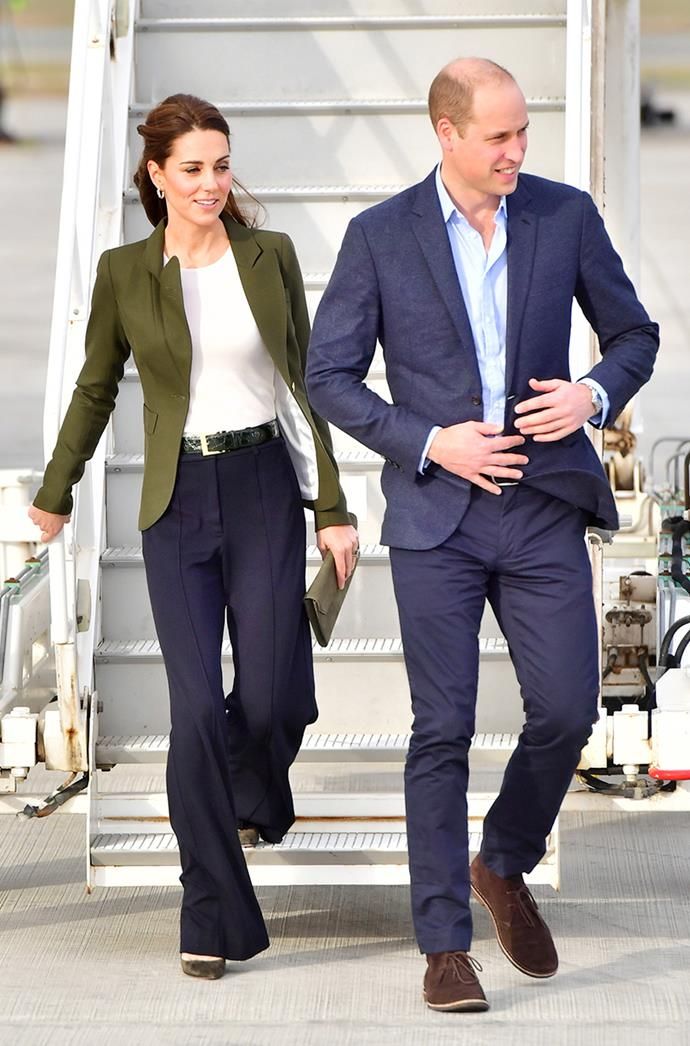 **CATHERINE, DUCHESS OF CAMBRIDGE** <br><br> Perfecting business chic, Kate Middleton visited soldiers in Cyprus in December 2018, wearing flared pants and a fitted T-shirt underneath an olive green blazer.