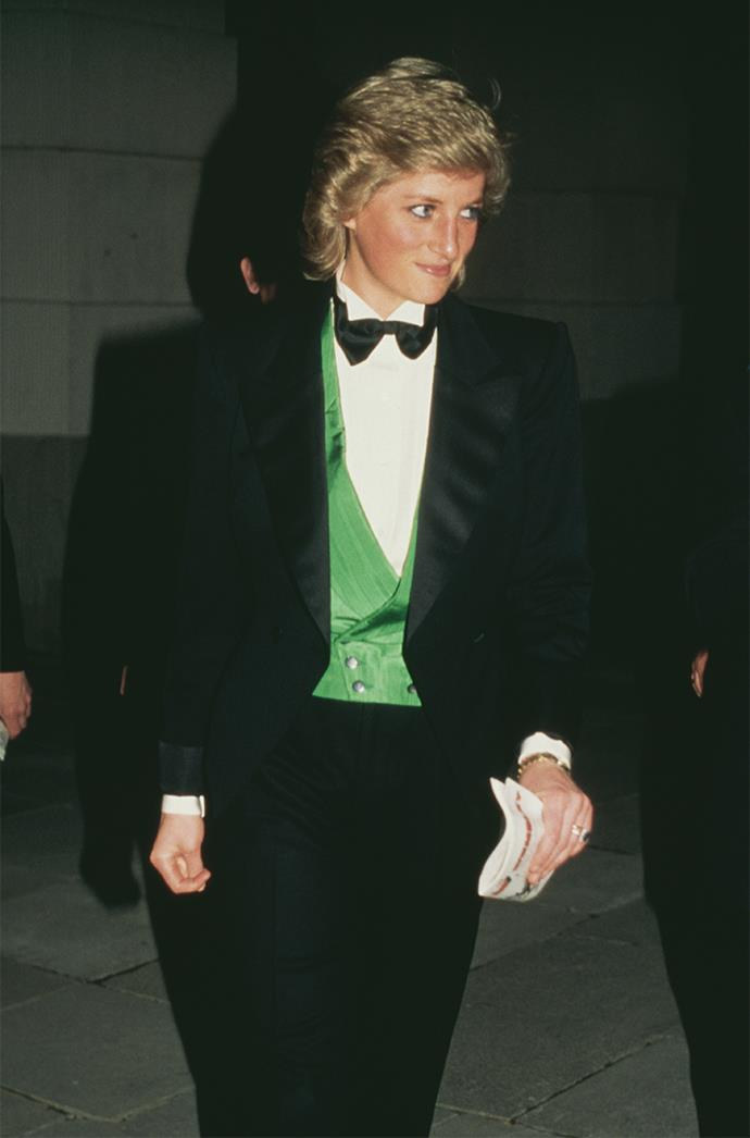 **DIANA, PRINCESS OF WALES** <br><br> Back in April 1988, Diana chose to level up and turn heads in a tuxedo. Here, she's wearing one by designer Catherine Walker one, paired with a green Hackett waistcoat.