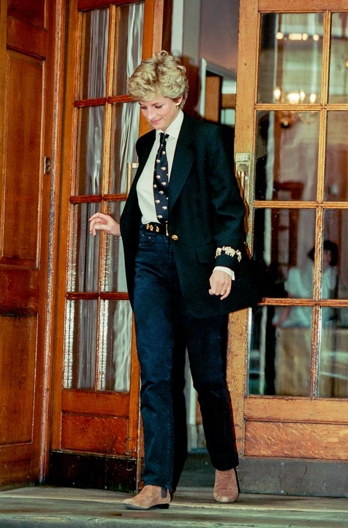 **DIANA, PRINCESS OF WALES** <br><br> Sporting androgynous style before it hit the mainstream, Diana visited her brother Charles Spencer to see his newborn at St. Mary's Hospital in March 1994, and used the opportunity to show off a transcendent, elephant-themed suit.