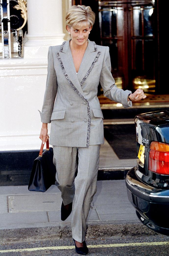 **DIANA, PRINCESS OF WALES** <br><br> Princess Diana wore a fringe-accented suit to join her stepmother Raine Spencer for lunch at the Connaught Hotel on March 28, 1997.