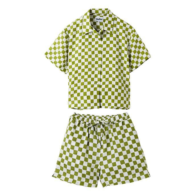 "[Olive pyjama short set](https://holidaythelabel.com/collections/pyjamas/products/pyjama-short-set-olive-check|target=""_blank""|rel=""nofollow""), $225 by Holiday the Label."