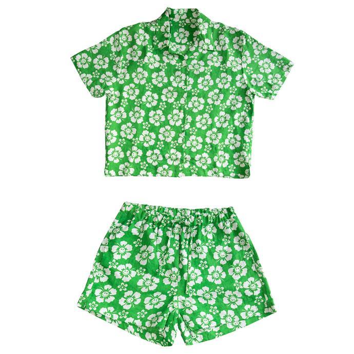 "[Hawaii pyjama short set](https://holidaythelabel.com/collections/pyjamas/products/pyjama-short-set-happy-hawaii-lime|target=""_blank""|rel=""nofollow""), $225 by Holiday the Label."