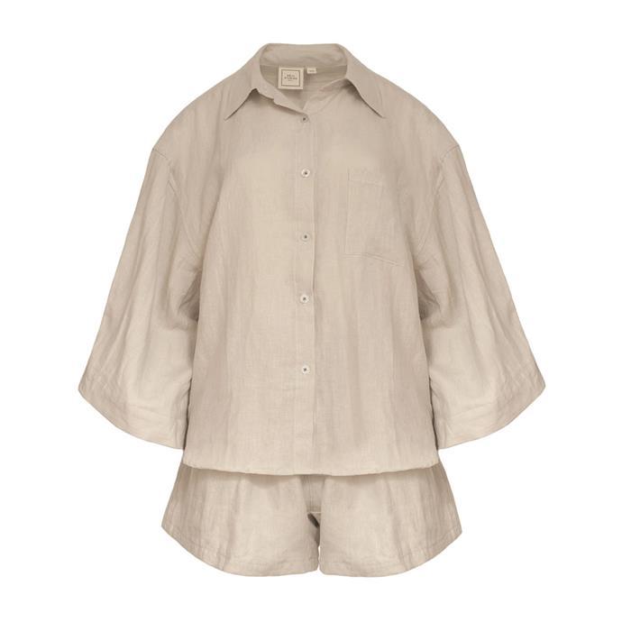 "[Loungewear short set](https://www.theundone.com/collections/sleepwear/products/loungewear-set-short|target=""_blank""|rel=""nofollow""), $220, by Deiji Studios at The Undone."