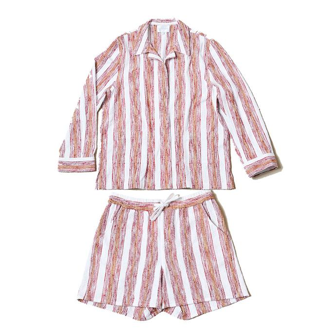 "[Shirt](https://lucyfolk.com/products/sundown-jacket-beam-stripe|target=""_blank""|rel=""nofollow""), $690, and [shorts](https://lucyfolk.com/products/sundown-short-beam-stripe|target=""_blank""), $370, both by Lucy Folk."