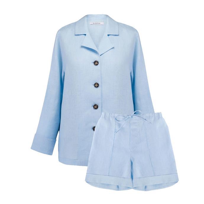 "[Linen short set](https://the-sleeper.com/en/product/azure-linen-pajama-set-with-shorts/#!|target=""_blank""|rel=""nofollow""), $299 by SLEEPER."