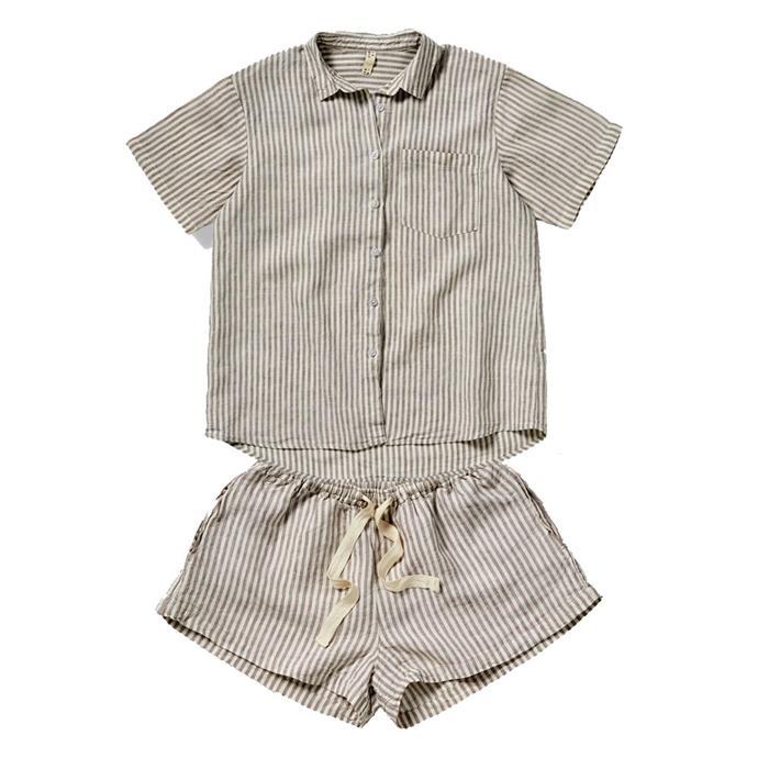 "[Linen shirt](https://inbedstore.com/collections/sleepwear/products/100-linen-short-sleeve-shirt-in-stripe|target=""_blank""|rel=""nofollow""), $82, and [shorts](https://inbedstore.com/collections/bottoms/products/100-linen-shorts-in-stripe|target=""_blank""|rel=""nofollow""), $75, by In Bed."