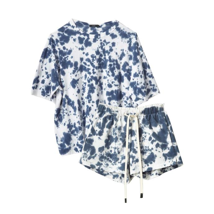 """[T-shirt](https://www.bassike.com/collections/women-t-shirts-tanks/products/motley-wide-htg-ss-tshirt-ss19wjt147-navy-motley