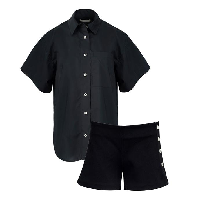 """[Cotton shirt](https://www.theundone.com/collections/matin/products/drop-shoulder-short-sleeve-shirt-ink