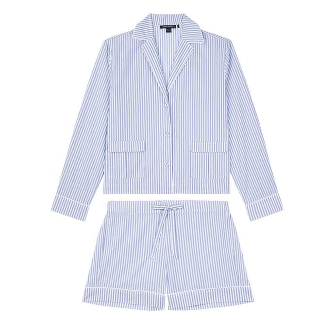 "Short set, $139, by [Jasmine and Will](https://www.jasmineandwill.com/amalfi-short-pyjama-set-blue-stripe.html|target=""_blank""|rel=""nofollow"")."