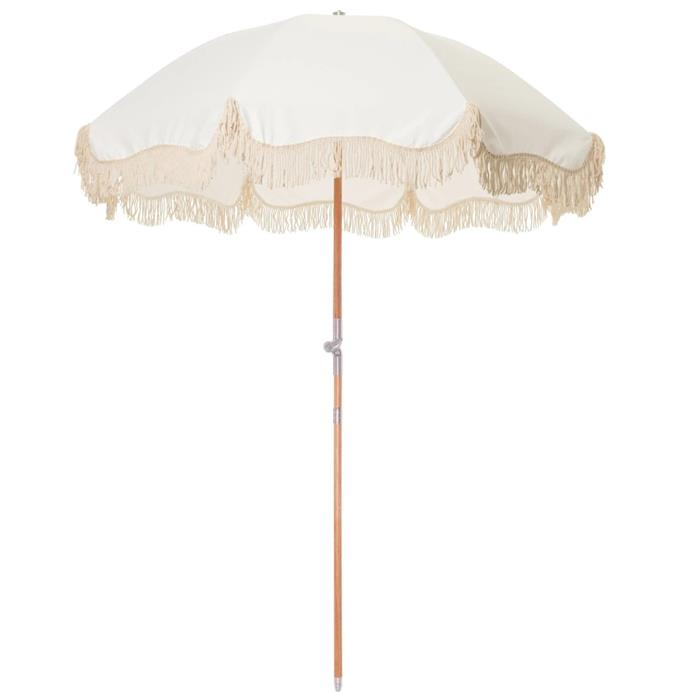 "'The Premium Beach Umbrella' in Antique White, $299 at [Business & Pleasure Co](https://businessandpleasureco.com.au/collections/all-beach-umbrellas/products/antique-white-free-shipping|target=""_blank""