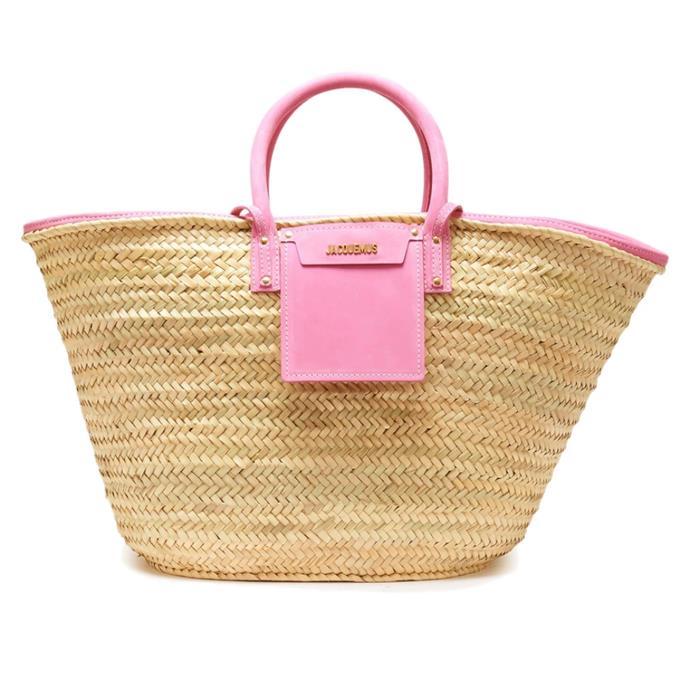 "'Le Grand Panier Soleil bag' by Jacquemus, $415 at [24S](https://www.24s.com/en-au/le-grand-panier-soleil-bag-jacquemus_JACUH626?defaultSku=JACUH626PINZZZZZ00&color=pink&lgw_code=6695-JACUH626PINZZZZZ00&gclid=CjwKCAiA-_L9BRBQEiwA-bm5fkiIVuthDYzCffo3w5wqwcEd5jzCRN_DMneNLVxt7Cu2lr9BKZFbaxoC2xMQAvD_BwE&gclsrc=aw.ds target=""_blank"" rel=""nofollow"")."