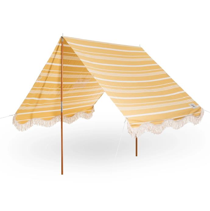 "'The Premium Beach Tent' in Vintage Yellow Stripe, $299 at [Business & Pleasure Co](https://businessandpleasureco.com.au/collections/premium-beach-tents-1/products/vintage-yellow-stripe-beach-tent|target=""_blank""