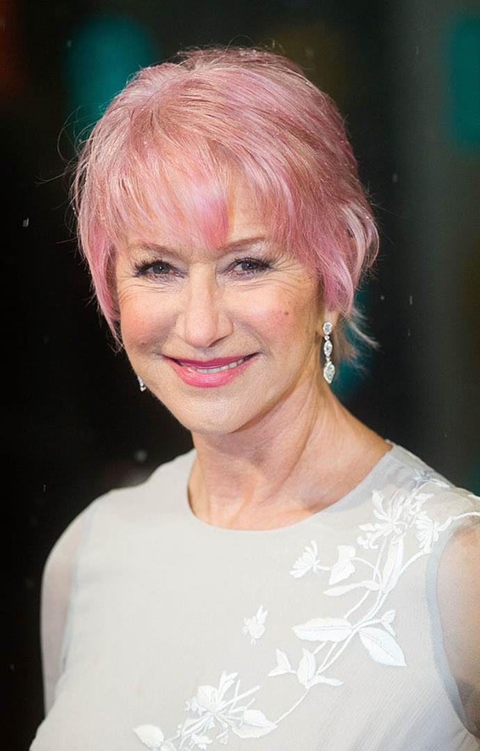 "**Helen Mirren at the 2013 BAFTA Awards**<br><br>  Helen Mirren shocked attendees at the 2013 BAFTA Awards when she made her way onto the red carpet with candy pink hair.<br><br>  ""I saw it on *America's Next Top Model*, so I decided to have a go,"" she [said](https://www.thecut.com/2013/02/helen-mirren-dyed-her-hair-pink.html