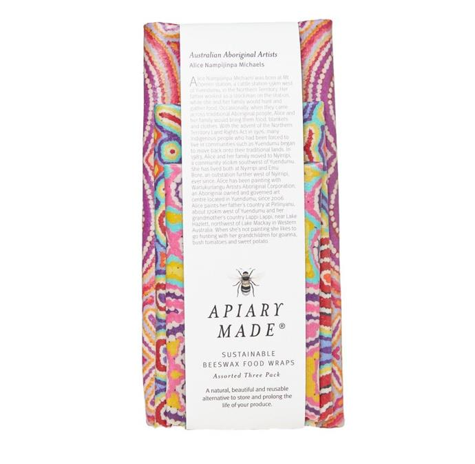 "Australian Aboriginal Artists Assorted 3-Pack Beeswax Wraps, $40 by [Apiary Made](https://apiarymade.com.au/product/australian-aboriginal-artists-assorted-three-pack-beeswax-wraps/|target=""_blank""
