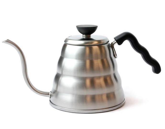 "Stainless Steel Kettle by Hario Buono, $84.90 at [Alternative Brewing](https://alternativebrewing.com.au/product/hario-buono-kettle-1200ml/?gclid=Cj0KCQiAwf39BRCCARIsALXWETwbFkCeFNi63f2uTszgR6BKGsQt54wV1Om2Ty4n1-q0kX8lHfxznAwaAnXzEALw_wcB|target=""_blank""|rel=""nofollow"")."