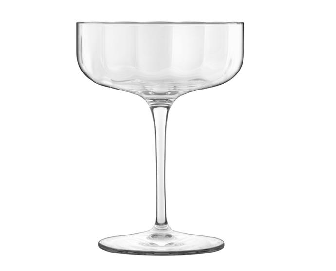 "Champagne Coupe Set of 4 by Luigi Bormioli, $53.97 (limited time pricing) at [David Jones](https://www.davidjones.com/brand/luigi-bormioli/23535320/Jazz-Champagne-Coupe-300ml-Set-of-Four.html|target=""_blank""