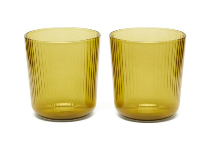 "Set of 2 Luisa Ridged-glass Wine Tumblers by R+D.LAB, $116 at [MatchesFashion](https://www.matchesfashion.com/au/products/R%2BD-LAB-Set-of-two-Luisa-ridged-glass-wine-tumblers-1396361|target=""_blank""