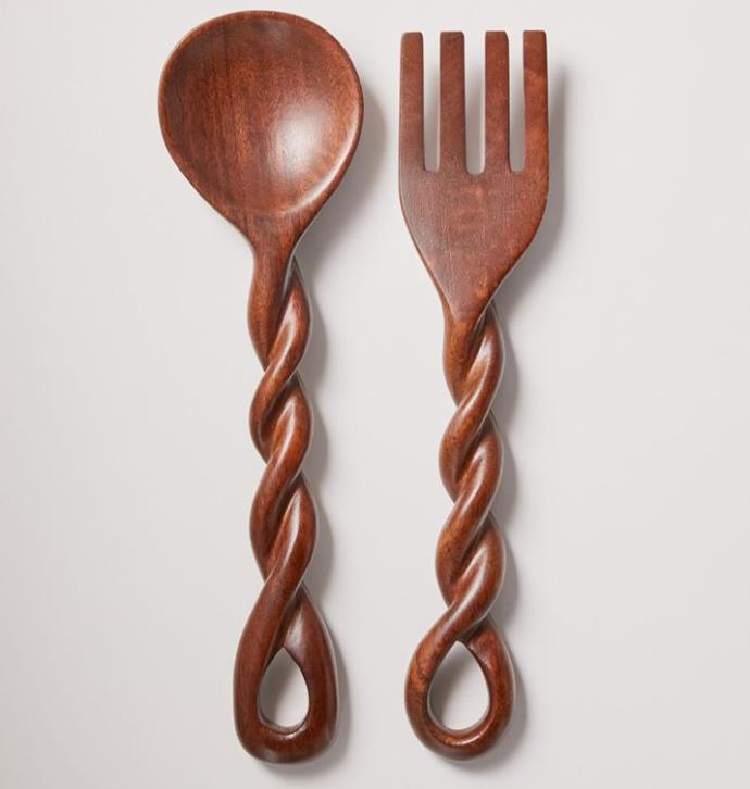 "Twisted Wood Serving Utensil Set, $46 by [Urban Outfitters](https://au.urbanoutfitters.com/en-au/product/twisted-wood-serving-utensil-set/UO-56582232-000?color=brown&size=one-size|target=""_blank""