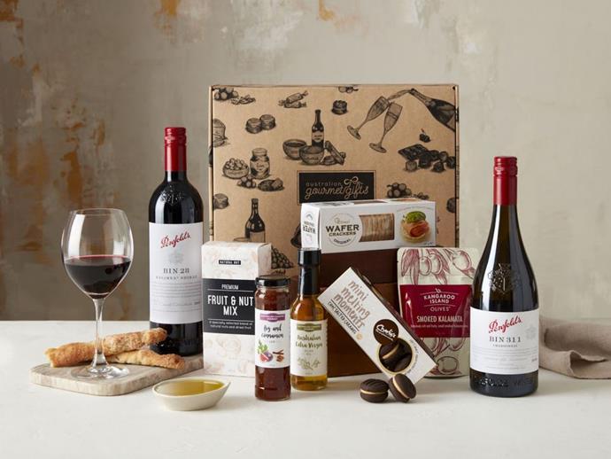 "Penfolds Premium Red & White Wine Hamper, $199.95 at [Australian Gourmet Gifts](https://www.australiangourmetgifts.com.au/penfolds-premium-red-white-wine-hamper/|target=""_blank""|rel=""nofollow"")."