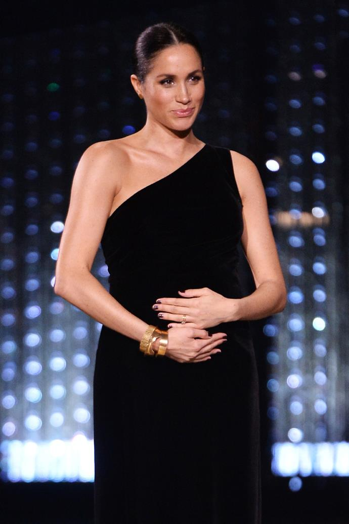 ***Nail polish should be kept to neutral colours*** <br><br> Presenting at the 2018 Fashion Awards Royals, Meghan's iconic one-shoulder dress may have stolen the show but it was her nails that caught the most attention. Traditionally, royals wear the lightest of pinks or neutrals on their nails. However, for this event, she broke precedent by wearing a bordeaux colour on her nails.
