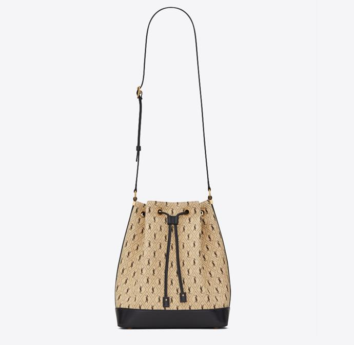 "Monogram All-Over Bucket Bag in Canvas, $2,610 by [Saint Laurent](https://www.ysl.com/en-au/satchel-and-bucket-bags/monogram-all-over-bucket-bag-in-canvas-568606HP41J9760.html|target=""_blank""