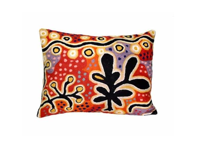 "Cushion Cover with Yam and Bush Tomato Dreamings Painting, $46.20 by [Better World Arts](https://betterworldarts.com.au/shop/product/cushion-wool-30-x-40-cm-pst604/|target=""_blank""