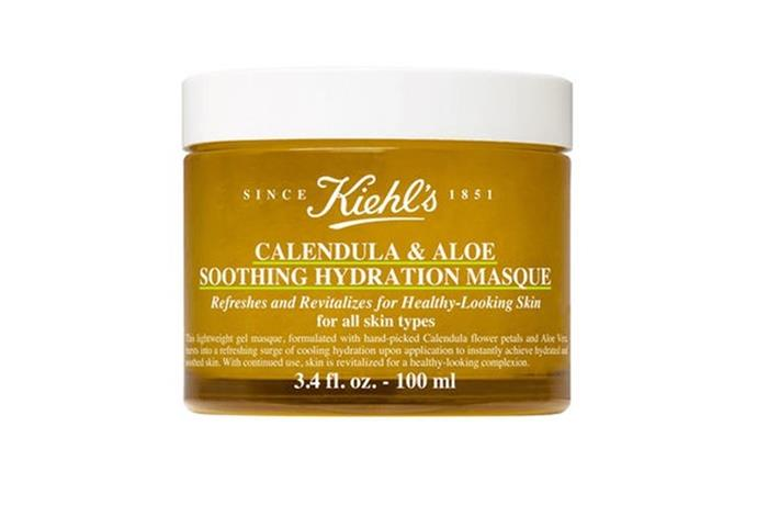 """**Kiehl's Calendula Aloe Soothing Hydration Masque**  <br><br> What better way to soothe your skin than with this ultra-hydrating mask? Infused with calendula, the gel mask provides instant hydration and leaves the skin feeling soft and refreshed. Our tip? Store it in your fridge for a cool-to-the-touch sensation when applying.  <br><br> Calendula Aloe Soothing Hydration Masque by Kiehl's, $71 at [Adore Beauty](https://www.adorebeauty.com.au/kiehls/kiehl-s-calendula-aloe-soothing-hydration-masque-100ml.html?clickref=1011lcWMRa4w&utm_source=partnerize&utm_medium=affiliate&utm_content=affiliate&utm_campaign=skimlinks_phg target=""""_blank"""" rel=""""nofollow"""")."""