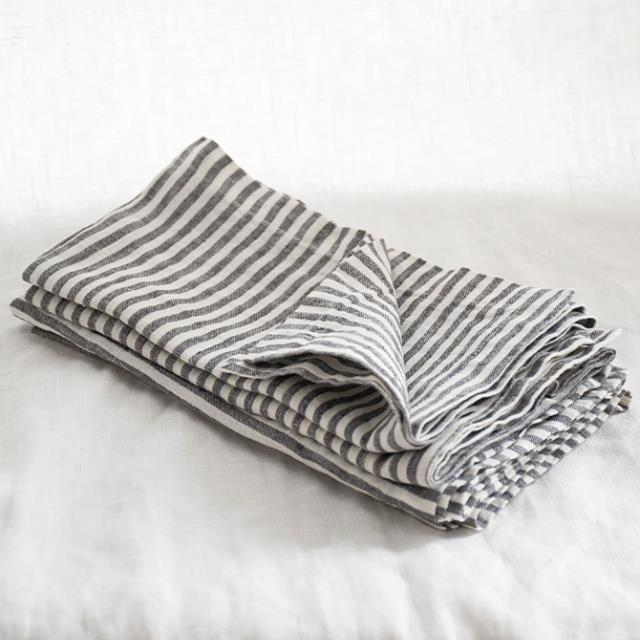 "Charcoal Stripes Napkin Set, $39.95 at [I Love Linen](https://www.ilovelinen.com.au/pure-french-linen-napkins-in-charcoal-stripes-set|target=""_blank""
