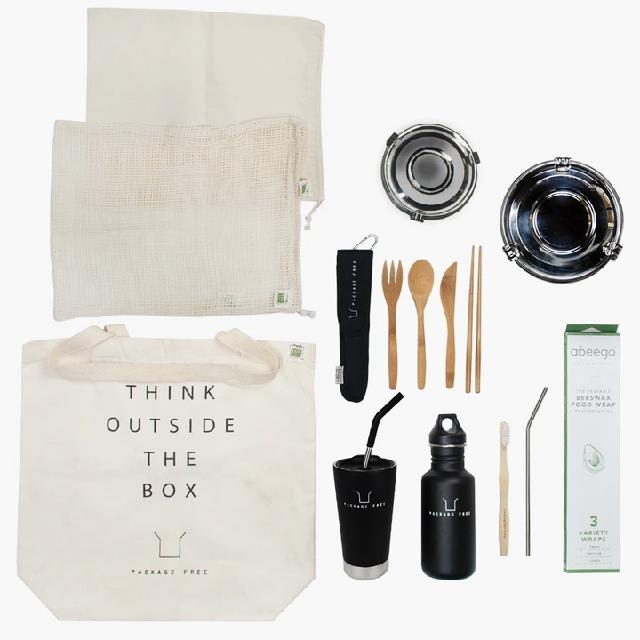 "Zero Waste Starter Kit: The Works, $104.30 at [Package Free](https://packagefreeshop.com/collections/zero-waste-kits/products/zero-waste-starter-kit-the-works|target=""_blank""